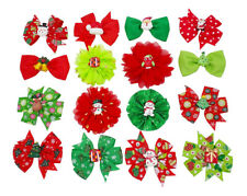 16pcs Christmas Small Dog Collar Flower Charms Grooming Slide Bowties Xmas Gifts
