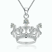 925 Sterling Silver Women Fashion Crown Crystal Pendant Charm Beauty Necklace