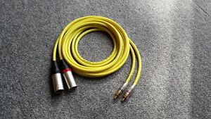 3-pin XLR male to RCA phono silver plated Van Damme cable 2m yellow