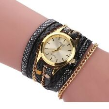 Women's Gold Quartz Wrap Bracelet Ladies Fashion Black PU Leather Braided Watch