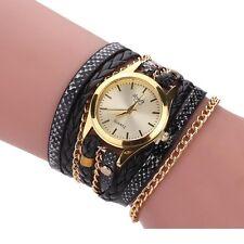 Women's Gold Quartz Wrap Bracelet Ladies Fashion Black PU Leather Braided Watch