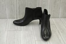 Clarks Dancer Sky Almond Toe Leather Booties, Women's Size 10M, Black
