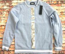 Original Karl Lagerfeld Designer Logo Sport Jumper Top Sweatshirt Blue Silver M