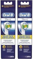 2 X    ORAL  B   HEADS  3D  WHITE  4 PACK   ( 8 HEADS) GENUINE PRODUCT