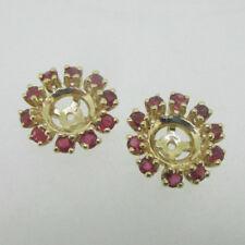 14K Yellow Gold Earring Jackets Ruby