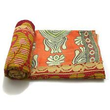 Vintage Quilt Indian Handmade Organic Cotton Bedspread Gypsy Throw Bedding Cover