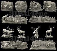 12+ 3D Model STL CNC Router Artcam Aspire Deer Hunting Set Cut3D Vcarve