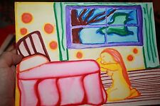 1960's Summer of Love Psychedelic abstract of rude woman praying at bed