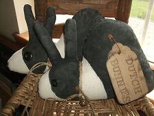 Primitive PAIR Grungy Rabbits Dutch Bunnies Vintage Button Eyes & Rusty bells