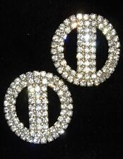 PAIR ART DECO/NOUVEAU CLEAR RHINESTONES DRESS/SHOE CLIPS  BUCKLES~MINT