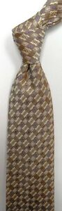 Brown Beige Self Tipped Silk Tie
