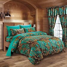 17 PC TEAL CAMO COMFORTER AND SHEET SET FULL SIZE CAMOUFLAGE WOODS CURTAINS