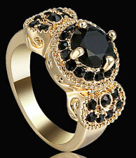 New Lady/Women's 14KT Yellow Gold Filled Black sapphire Wedding Ring Gift 6