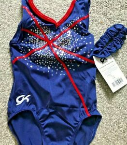 NEW CHILD SMALL BLUE AND RED GK LEOTARD WITH SCRUNCHIE
