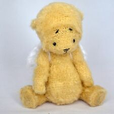 Handmade crochet straw-colored teddy bear angel, artist miniature, 9 ½in.