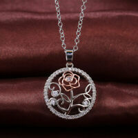 Fashion White Gold Plated Zircon Crystal Flower Round Pendant Necklace for Women