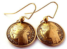 French Coin Earrings Antique Gold Colored Jewelry Woman Birthday Gift for Her