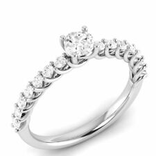 0.39  CT Genuine Natural Diamond I1 HI 10K White Gold Solitaire W/ Accents Ring