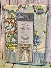 "Croscill Corfu Waterfall Swag Sky Blue Paisley Floral Valance 44 W x 28"" L NEW"