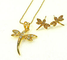 Dragonfly Stud Earring Necklace Set 24K Gold Plated Simulated Diamond UK
