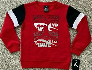 Nike Jordan Little Boys Jumpman Fleece Crew Neck Pullover Sweatshirt Size 6 7