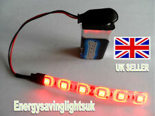 MODEL RAILWAY SCENERY 1 x 10 CM RED LED STRIP LIGHT WITH 9V PP3 CONNECTOR
