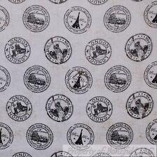 BonEful Fabric FQ Cotton Quilt VTG B&W London Paris Rome NYC New York City Stamp