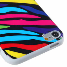 for iPod Touch 5th / 6th Gen - Pink Puprle Blue Zebra TPU Gummy Rubber Skin Case
