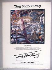 """Ting Shao Kuang """"Harmony"""" Serigraph PRINT AD - 1986"""