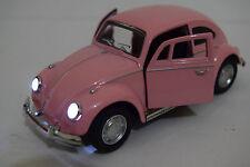 PINK VW BEETLE 60'S 1/32 DIECAST CAR - MUSIC & LIGHT - OPENING DOOR HERBIE STYLE