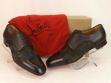 LOUBOUTIN TOP DAVIOL BROWN FLOWER SUEDE LEATHER LACE UP CAP TOE DERBY SHOES 44