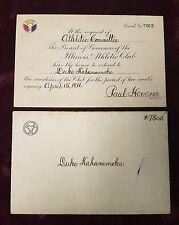 1916 Duke Kahanamoku Athletic Committee of Illinois Athletic Club Invitation