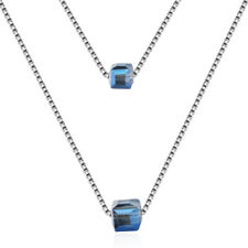 Hot Fashion 925 Sterling Silver Austrian Crystal Aurora Cube Pendant Necklace