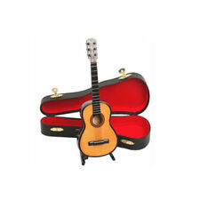 Mini Wooden Acoustic Guitar Musical Instrument With Case Stand Home Decor Gift