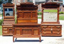 Stunning Walnut Victorian Bedroom Set~~Bed~~Dresser~~Washstand