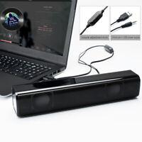 Wired USB 2.0 Computer Speaker Home Audio Stereo Surround Mini Strip Speaker TOG