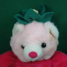 PINK WHITE STRAWBERRY PAJAMA TEDDY BEAR BABY PLUSH STUFFED ANIMAL LOVEY