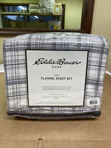 Eddie Bauer King Size Flannel Sheet Set 100% Cotton 216283