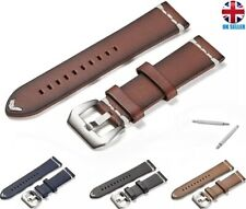 VINTAGE STYLE GENUINE LEATHER WATCH STRAP BAND BLACK BROWN RED BLUE 18.20.22.24M