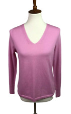 Talbots Women's MP Petite Pure Merino Wool Pullover V-Neck Sweater Pink Ribbed