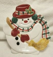 Fitz & Floyd Christmas Snowman Canape Plate Plaid, Essentials 9.75� By 9�