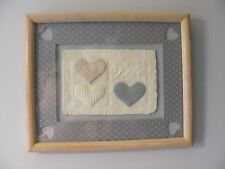 vintage 80s hand made paper art cast molded framed matted Country Hearts Love
