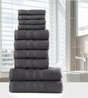LUXURY 100% EGYPTIAN COTTON TOWEL BALE SET 10 PC BATHROOM HAND TOWELS GREY WHITE