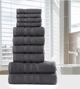 LUXURY 100% EGYPTIAN COTTON TOWEL BALE SET 10 PC BATHROOM HAND TOWELS GREY WHITE