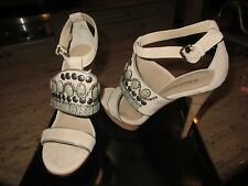 BOSTON PROPER NEW $179.- Beige/Silver High Heel Embellished Platform Sandals 9.5