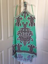 Womens INC International Concepts Digital Impression High-Low Halter Dress Sz L