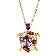 2 Ct Natural Amethyst Garnet & Topaz Turtle Pendant Necklace in 18k Gold Over