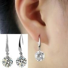 925 Sterling Silver Earrings Hook Drop Dangle Women Crystal Ear Stud Studs 8mm