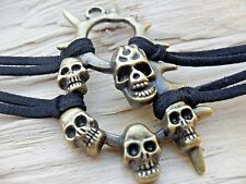 Skulls & Spikes Gold Effect MultiStrand Soft Black Suede Leather Bracelet NEW