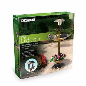 4 in 1 Bird Bath with Solar Light and Planter Lightweight Antique Garden NEW
